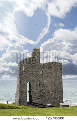 love heart shaped cloud above ballybunion castle in county kerry ireland
