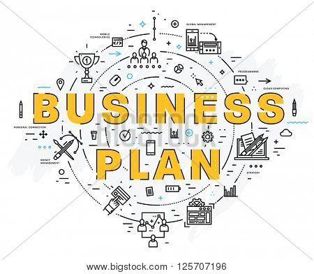 Flat Style, Thin Line Art Design. Set of application development, web site coding, information and mobile technologies vector icons and elements. Modern concept vectors collection. Business Plan