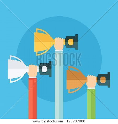 Male hands holding winner's cups. Winner trophy awards. Gold, silver and bronze trophy cups. Flat vector illustration.