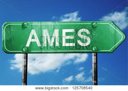 ames road sign on a blue sky background