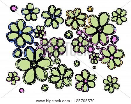 Flowers vector illustration. Isolated on white background.