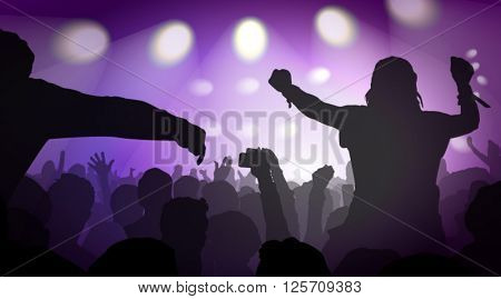 Vector Illustration Of Music Concert With Audience