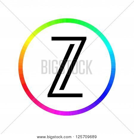 Logo letter L and the number seven. rainbow circle. The symbol represents text Seven Lights. Can be used as logo photographer, designer, TV channels, video blog. Logo letters Z. vector illustration