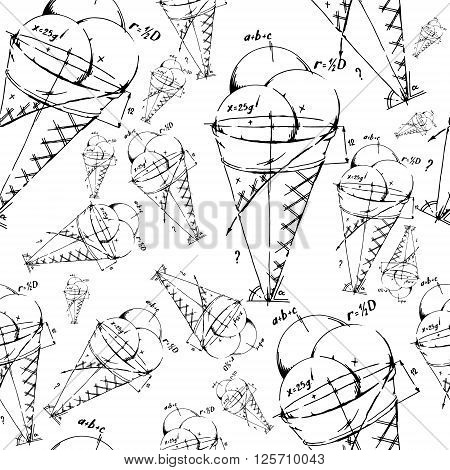 Mixed ice cream scoops. Background pattern. Hand drawn vector stock illustration