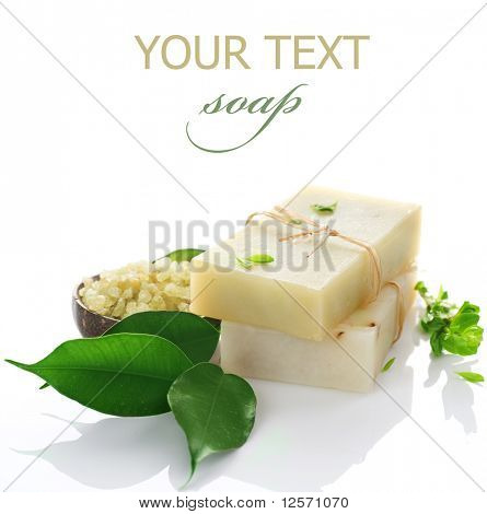 Natural handmade Soap with herbs  isolated on white poster