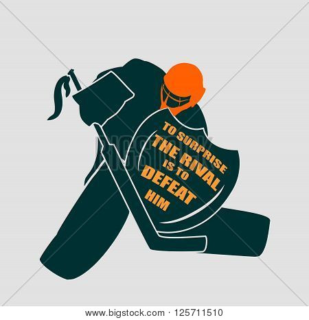 Vector illustration of ice hockey goalie with knight shield. To surprise the rival is to defeat him motto. Sport relative quote