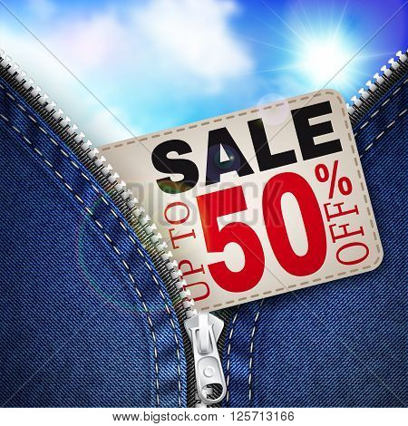 Denim background with zipper coupon for discounts and blue sky