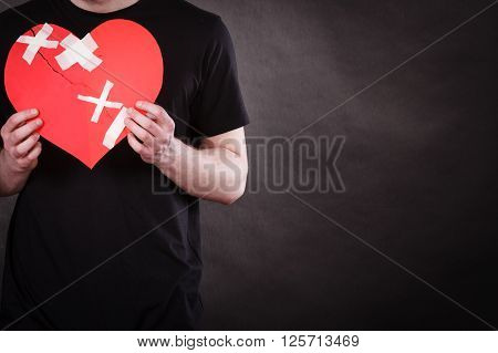 Unhappy Man With Broken Heart.