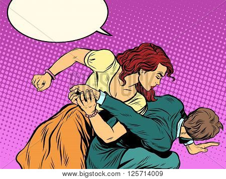 Woman beats man in fight pop art retro style. Woman hits a man. Self defence women. Competition. The war of the sexes