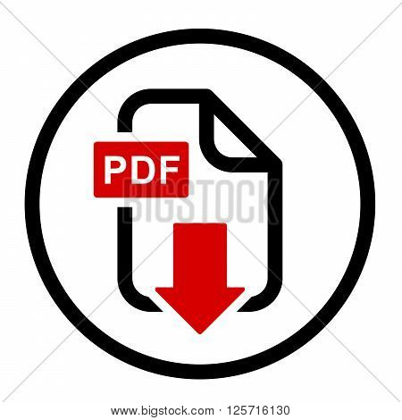 PDF file download simple icon in white