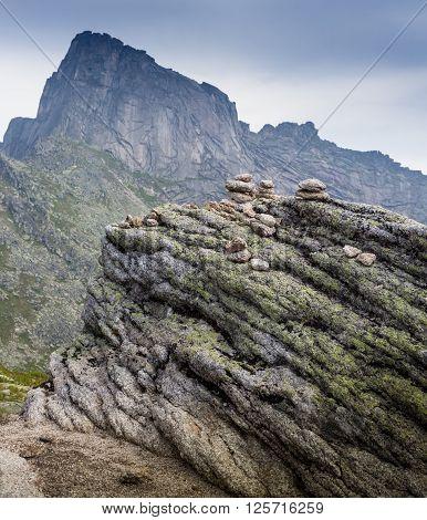 Layers of sedimentary sandstone rock in the Ergaki, Russia