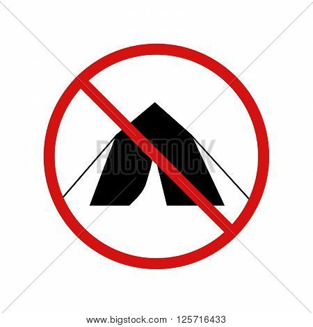 No tent, camping forbidden sign isolated on white