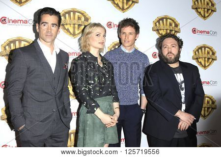 LAS VEGAS - APR 12: Colin Farrell, Alison Sudol, Eddie Redmayne, Dan Fogler at the Warner Bros. Pictures Presentation during CinemaCon at Caesars Palace on April 12, 2016 in Las Vegas, Nevada