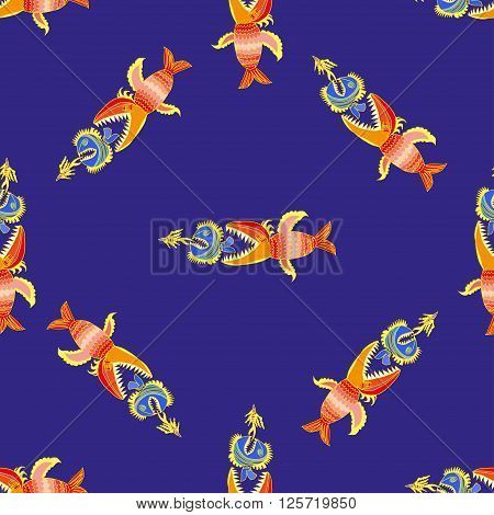 Seamless pattern with hand drawn fishes vektor