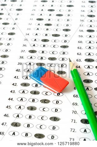 School and Education. Test score sheet with answers. Education concept