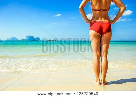 Young beautiful woman relax on the beach. Vacation concept
