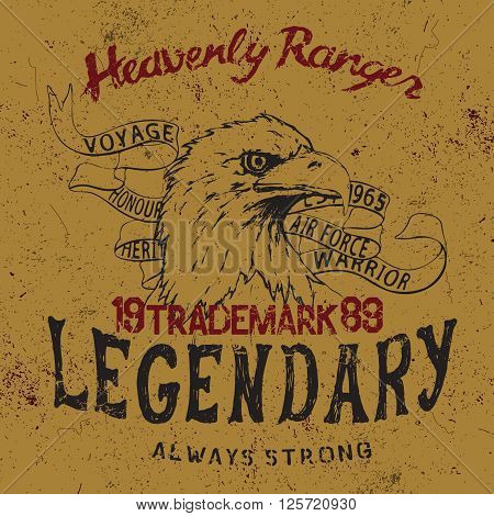 Vintage label with eagle  .Grunge effect.Typography design for t-shirts