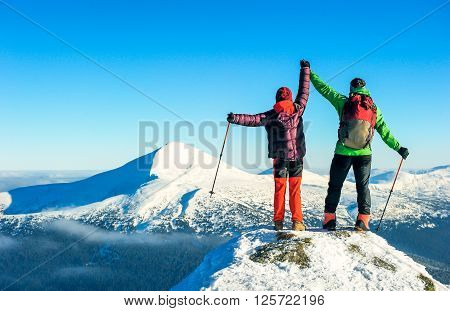 Tourist reaches the top of mountain peak. Climbing and mountaineering sport. Nepal mountains.