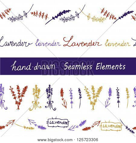 Lavender Seamless elements set  on the black background. Hand-drawn original background