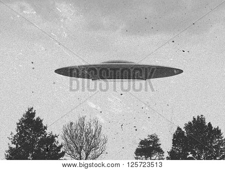 3d rendering of flying saucer ufo vintage style