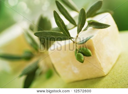 Natural Handmade Soap and Olives.Very Sallow DOF