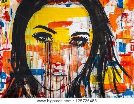 acrylic painting, Ink and Watercolor on Canvas of a young women crying colors. Sometimes our outward appearances mask what going on inside us.