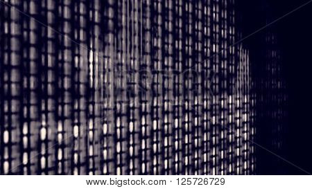 Futuristic video screen display pixels creating an abstract pattern.