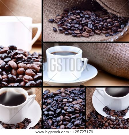 Cup of coffee with coffee beans. Coffee photographs versions.