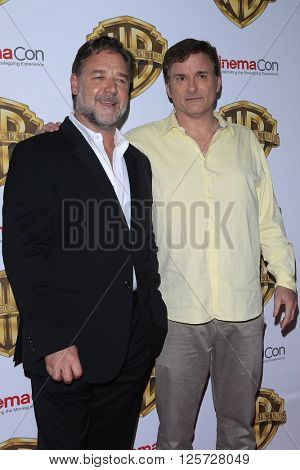 LAS VEGAS - APR 12: Russell Crowe, Shane Black at the Warner Bros. Pictures Presentation during CinemaCon at Caesars Palace on April 12, 2016 in Las Vegas, Nevada