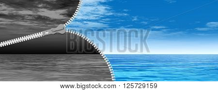 3D illustration of concept abstract zipper, dramatic dark cloudy sky and sea to sunny summer blue sky with clouds background banner for change, success, development, vision, idea, fear, heaven, fait