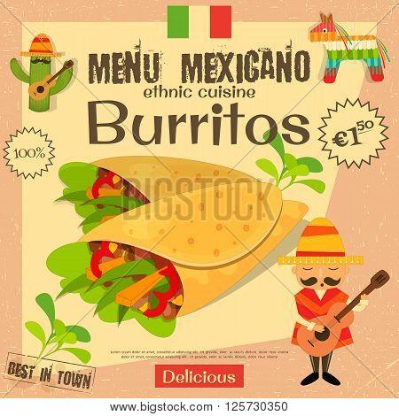 Mexican Menu. Burritos. Mexican Traditional Food. Vintage Style. Vector Illustration.