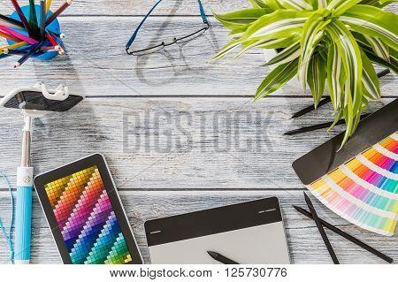 Design Designer Creative Graphic Desk Table - Stock Image