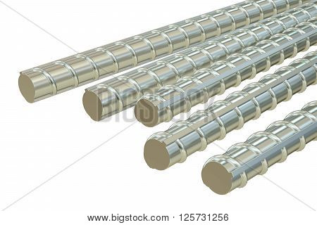 Building armature bars 3D rendering isolated on white background
