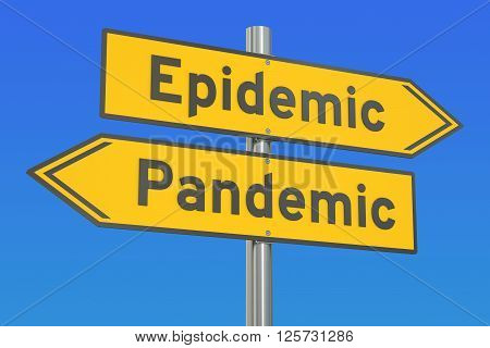 epidemic vs pandemic concept on the road signpost. 3D rendering