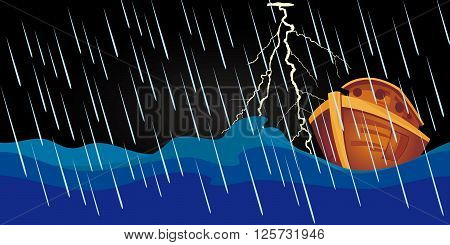 Noah's Ark sailing in the storm at night