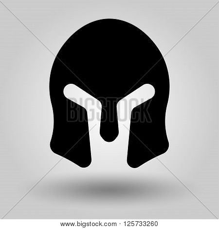 Spartan Helmet full face silhouette symbol of gladiator soldier or greek warrior or roman legionary helmet hero sign vector
