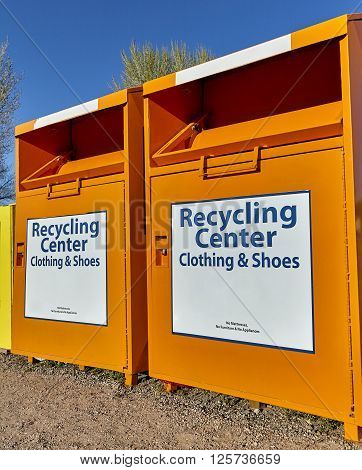 Recycling Center Collection Bins For Clothing And Waste Disposal Industry And Waste Management