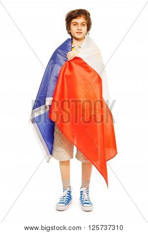 Whole-length picture of teenager wrapped in flag of France, isolated on white background