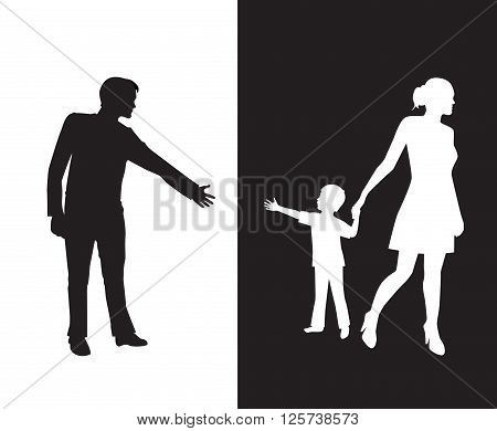 silhouette of a man reaching to his young child, but the mother removes the child to the other side and is separated from the father.Dad and mom with a baby on different backgrounds