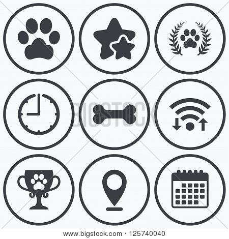 Clock, wifi and stars icons. Pets icons. Dog paw sign. Winner laurel wreath and cup symbol. Pets food. Calendar symbol.