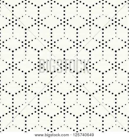 Modern Monochrome Dotted Hexagonal Texture - Vector Seamless Pattern