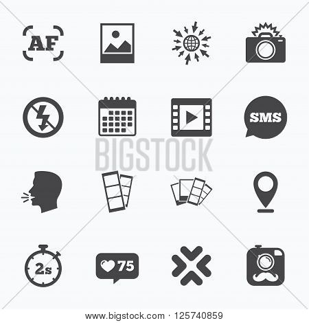 Calendar, go to web and like counter. Photo, video icons. Camera, photos and frame signs. No flash, timer and strips symbols. Sms speech bubble, talk symbols. poster