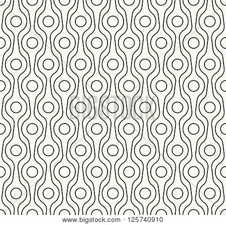 Stylish Outlined Monochrome Decorative Fabric Texture With Structure Of Repeating Circles And Lines
