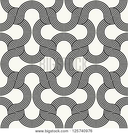 Modern Outlined Ornamental Background With Network Structure Of Twisted Lines - Vector Seamless Patt