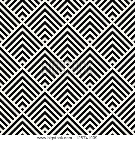 Modern Monochrome Art Decoration Square Chevrons Background - Vector Seamless Pattern