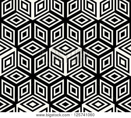 Modern Stylish Geometrical Background Design With Structure Of Repeating Cubes - Vector Seamless Pat