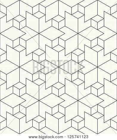 Modern Stylish Outlined Geometric Background With Structure Of Repeating Rhombuses - Vector Seamless