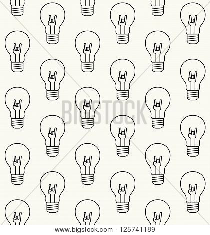 Modern Stylish Outlined Texture With Sign Of The Horn Hand Gesture Inside Of The Light Bulbs - Vecto