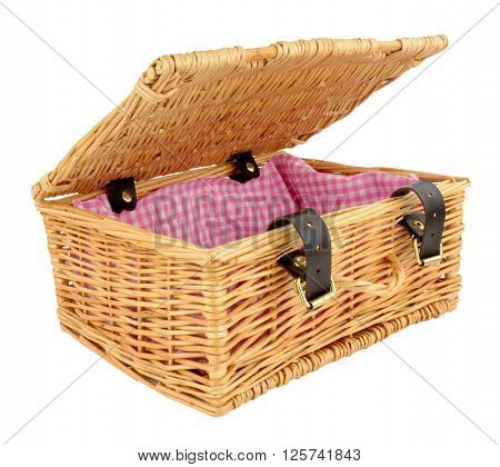 Woven wicker basket with straps and buckles isolated on a white background poster
