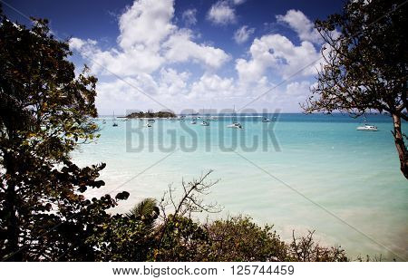 Guadeloupe, Lesser Antilles: view from Le Gosier over Dupuy Bay to Ilet du Gosier